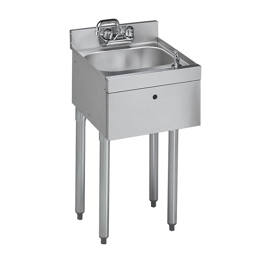 "Krowne 18-18ST Under Bar Sink - 10x14x7"" Bowl, Splash Mount, Soap/Towel Dispenser, 18x18.5"