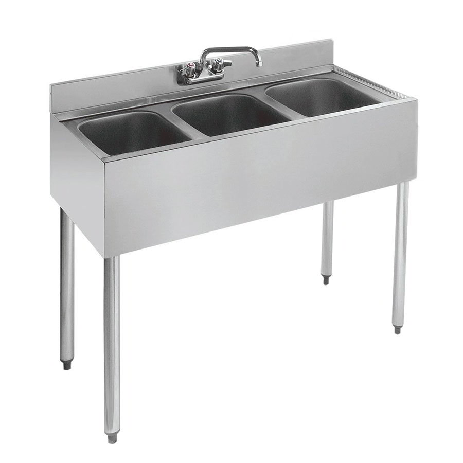 "Krowne 18-33 Under Bar Sink - (3) 10x14x9.75"" Bowls, Faucet, 36x18.5"