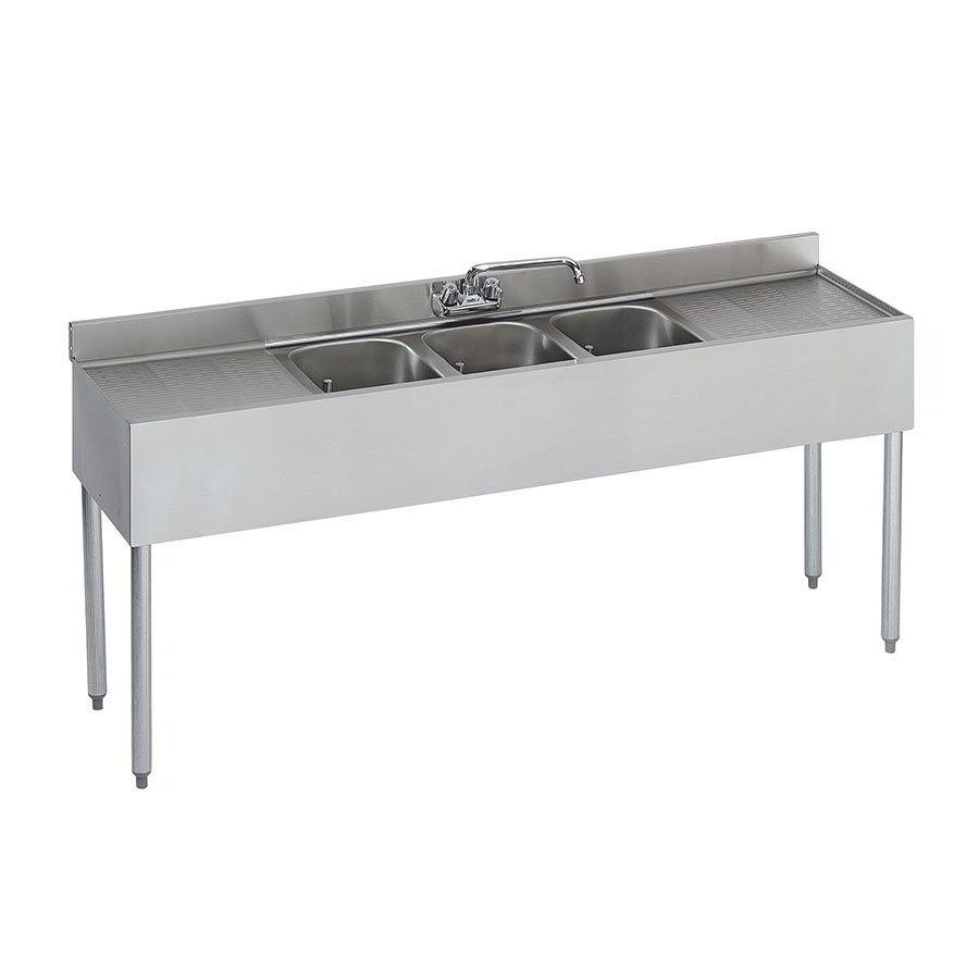 "Krowne 18-63C Under Bar Sink - (3) 10x14x9.75"" Bowls, R-L Drainboard, 72x18.5"