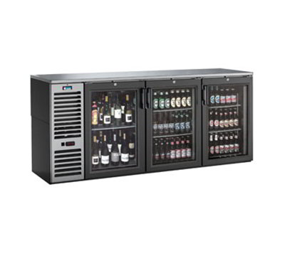 Krowne BS84L-B-S-B-L-R-L 84-in Refrigerated Backbar Storage Cabinet w/ 3-Doors & 34-Case Capacity, Black