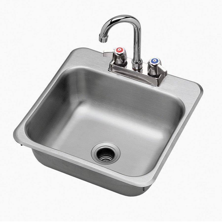 "Krowne HS1515 Hand Sink - 13.5x11x5.5"" Bowl, Deck Mount, 15x15"