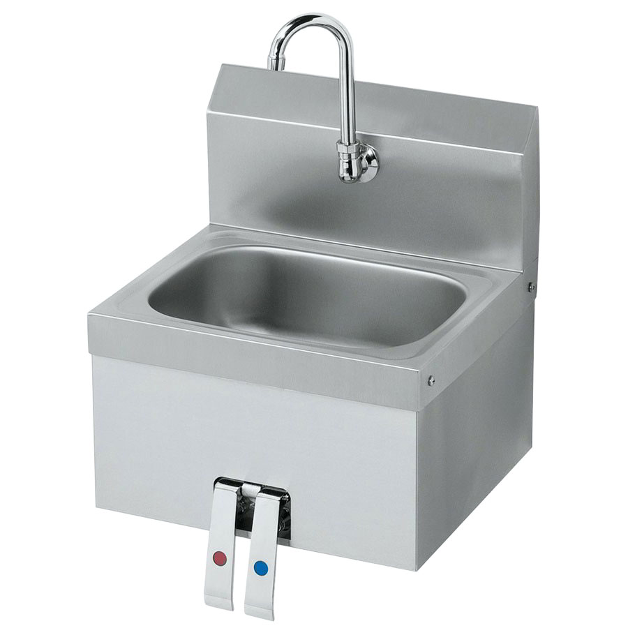 "Krowne HS-15 Wall Mount Hand Sink - 14x10x6"" Bowl, Splash Mount, Knee Pedal, 16x15"