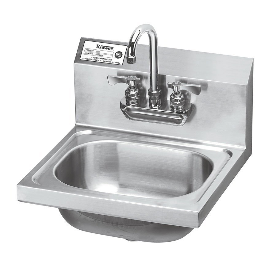 "Krowne HS-22 Wall Mount Hand Sink - 14x10x6"" Bowl, Splash Mount, 16x15"