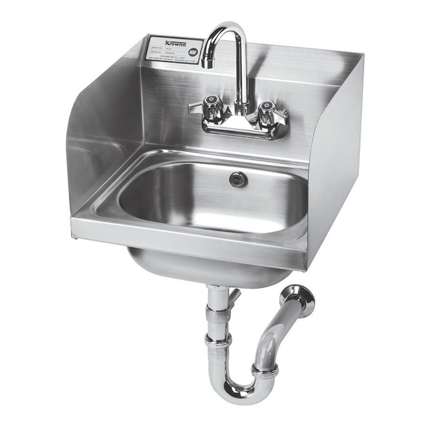 "Krowne HS-5 Wall Mount Hand Sink - 14x10x6"" Bowl, Splash Mount, Side Splashes, 16x15"