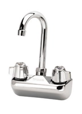 "Krowne 10-400L Splash Mount Faucet - Gooseneck Spout, 4"" Centers, Low Lead"