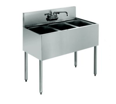 "Krowne KR18-33C Under Bar Sink - (3) 10x14x10"" Bowls, Faucet, 36x19"