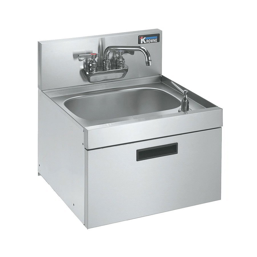 "Krowne KR18-18WST Wall Mount Under Bar Hand Sink - 10x14x7"" Bowl, 18x19"", Low Lead"