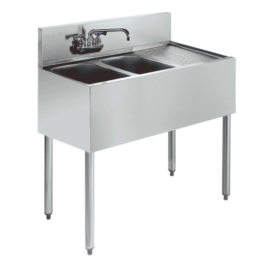 "Krowne 21-32L Under Bar Sink - (2) 10x14x9.75"" Bowl, Faucet, Right Drainboard, 36x21"