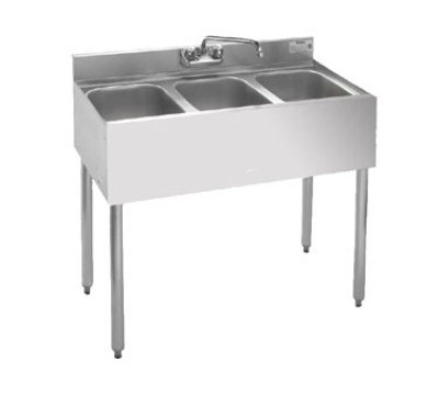 "Krowne 21-33 Under Bar Sink - (3) 10x14x9.75"" Bowl, Faucet, Left Drainboard, 36x21"