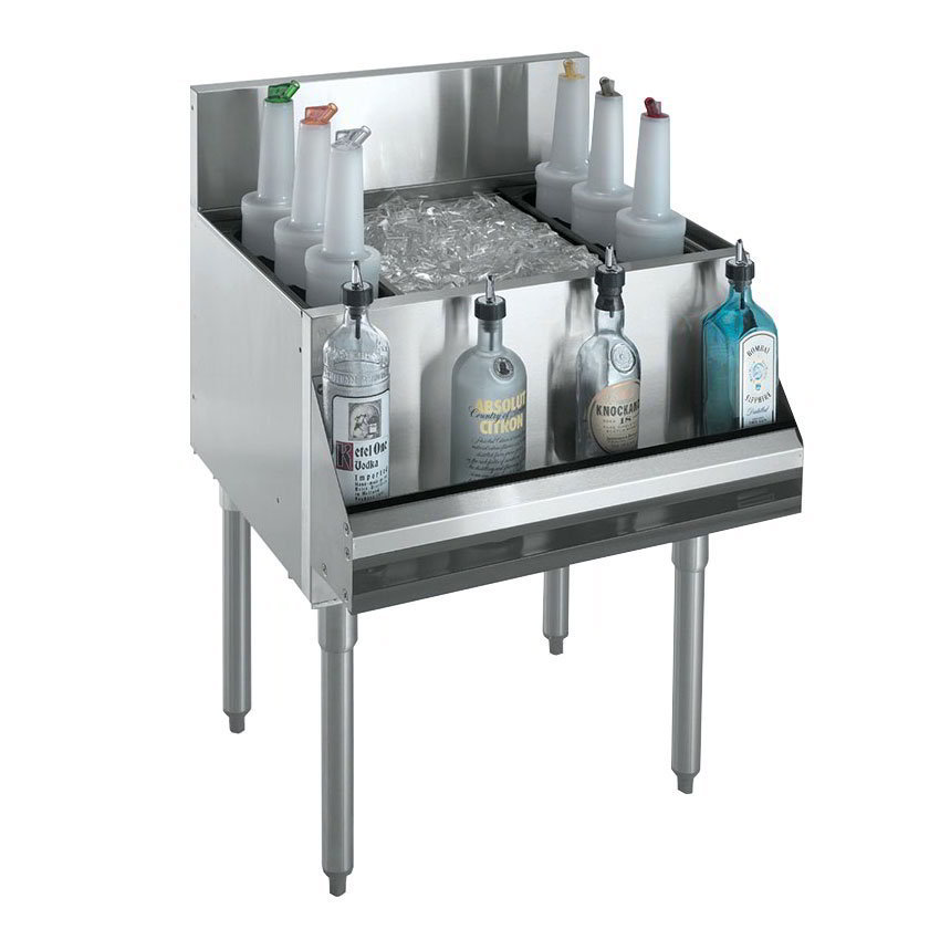 "Krowne KR18-36 Ice Bin - 115-lb Capacity, Bottle Racks, 7"" Back Splash, 36x19"