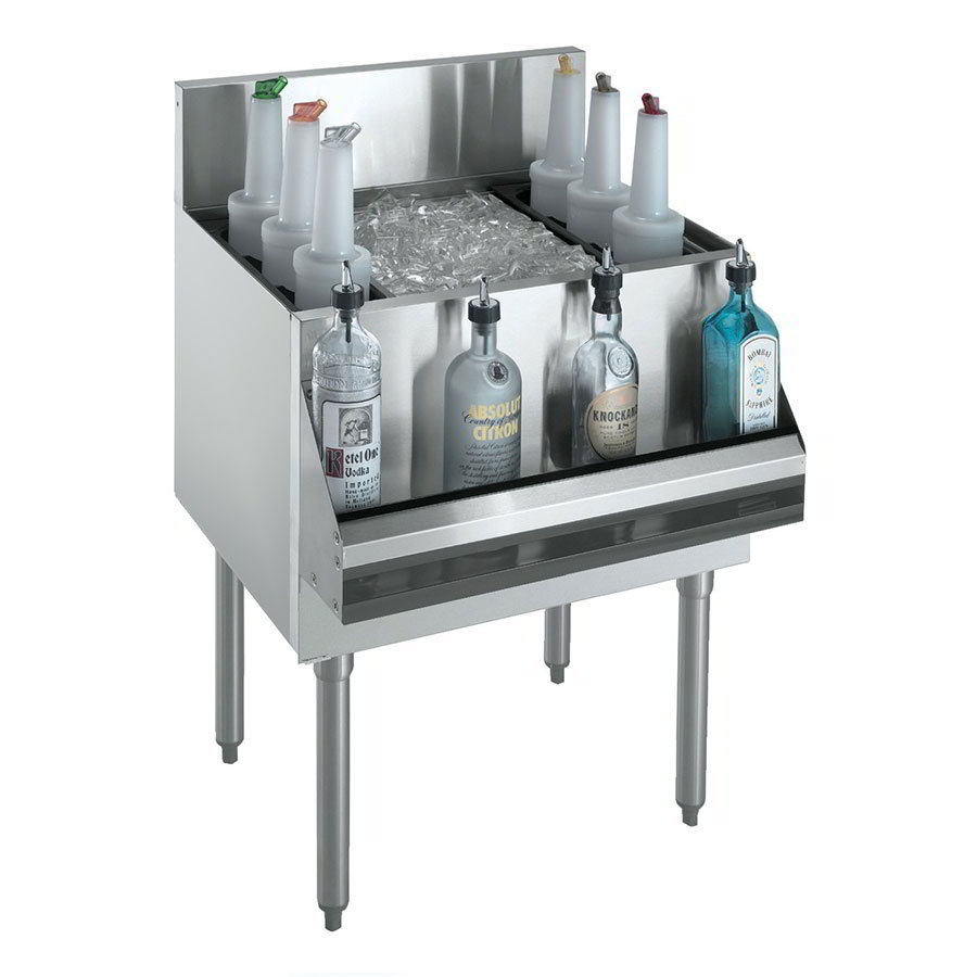 "Krowne KR18-36DP Ice Bin - 138-lb Capacity, Bottle Racks, 7"" Back Splash, 36x19"