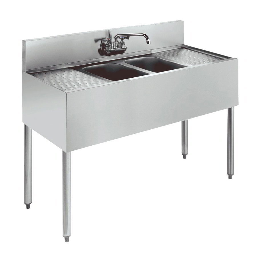 "Krowne 18-42C Under Bar Sink - (2) 10x14x9.75"" Bowls, R-L Drainboard, 48x18.5"