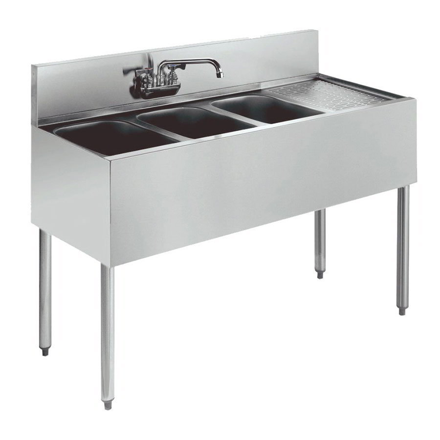 "Krowne 21-43L Under Bar Sink - (3) 10x14x9.75"" Bowl, Faucet, Right Drainboard, 48x21"