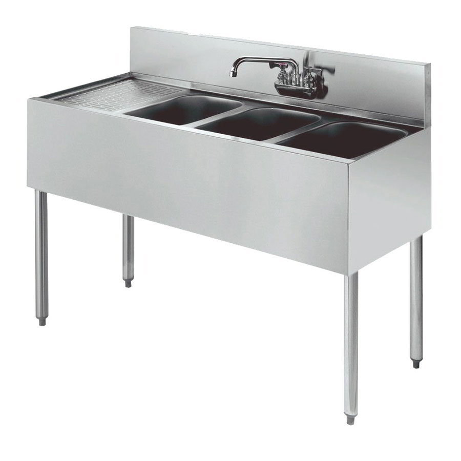 "Krowne 21-43R Under Bar Sink - (3) 10x14x9.75"" Bowl, Faucet, Left Drainboard, 48x21"