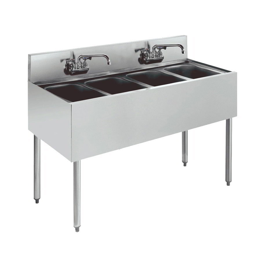 "Krowne KR21-44C Under Bar Sink - (4) 10x14x10"", Faucet, 48x21"