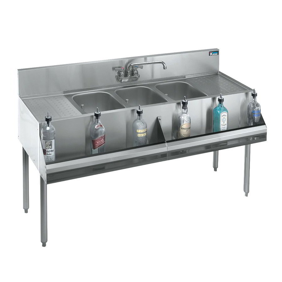 "Krowne 21-63C Under Bar Sink - (3) 10x14x9.75"" Bowl, Faucet, R-L Drainboard, 72x21"