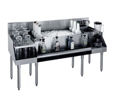 Krowne KR21-W60B-8 Recessed Drainboard/Ice Bin & Blender Station 97-lbs & 60 x 26-in Restaurant Supply