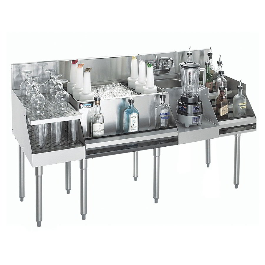 "Krowne KR18W60C10 Cocktail/Blender/Liquor Unit w/ 12"" Drainboard - 80-lb Ice Bin, Dump Sink, 60x24"