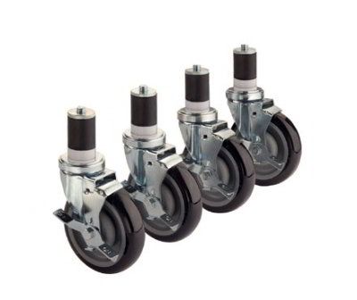 Krowne 28-124S Stem Caster Set For 1.5-in Tubing w/ 5-in Wheels