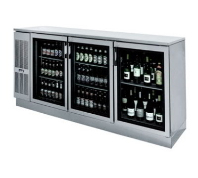 "Krowne BS84L 84"" Back Bar Storage Cabinet - Holds (24) Cases Bottles, Left Mount, Black"