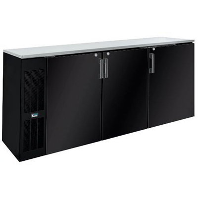 "Krowne BS84R 84"" Back Bar Storage Cabinet - Holds (24) Cases Bottles, Right Mount, Black"
