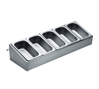 Krowne C-32 Standard Series Condiment Tray w/ 5-Pans, Stainless