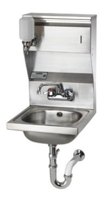 "Krowne HS-7 Wall Mount Hand Sink - 14x10x6"" Bowl, Soap/Towel Dispenser, 16x15"