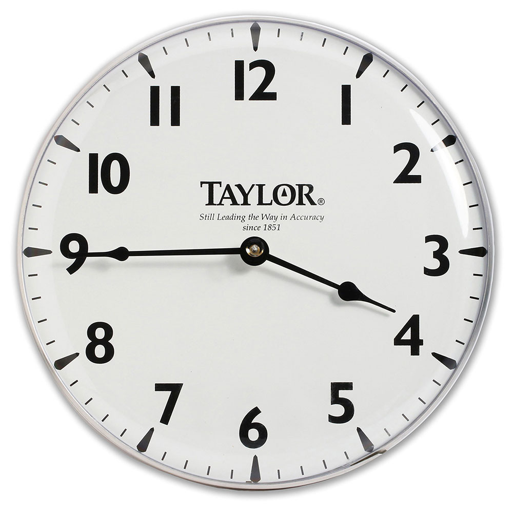 Taylor 166 Patio Clock w/ Silk Screen Graphics, 12-15/16-in, Brushed Sil