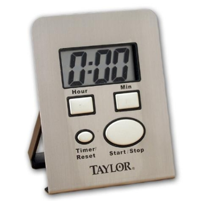 Taylor 5851 Digital Timer w/ Clock, .85-in LCD Readout, Stainless