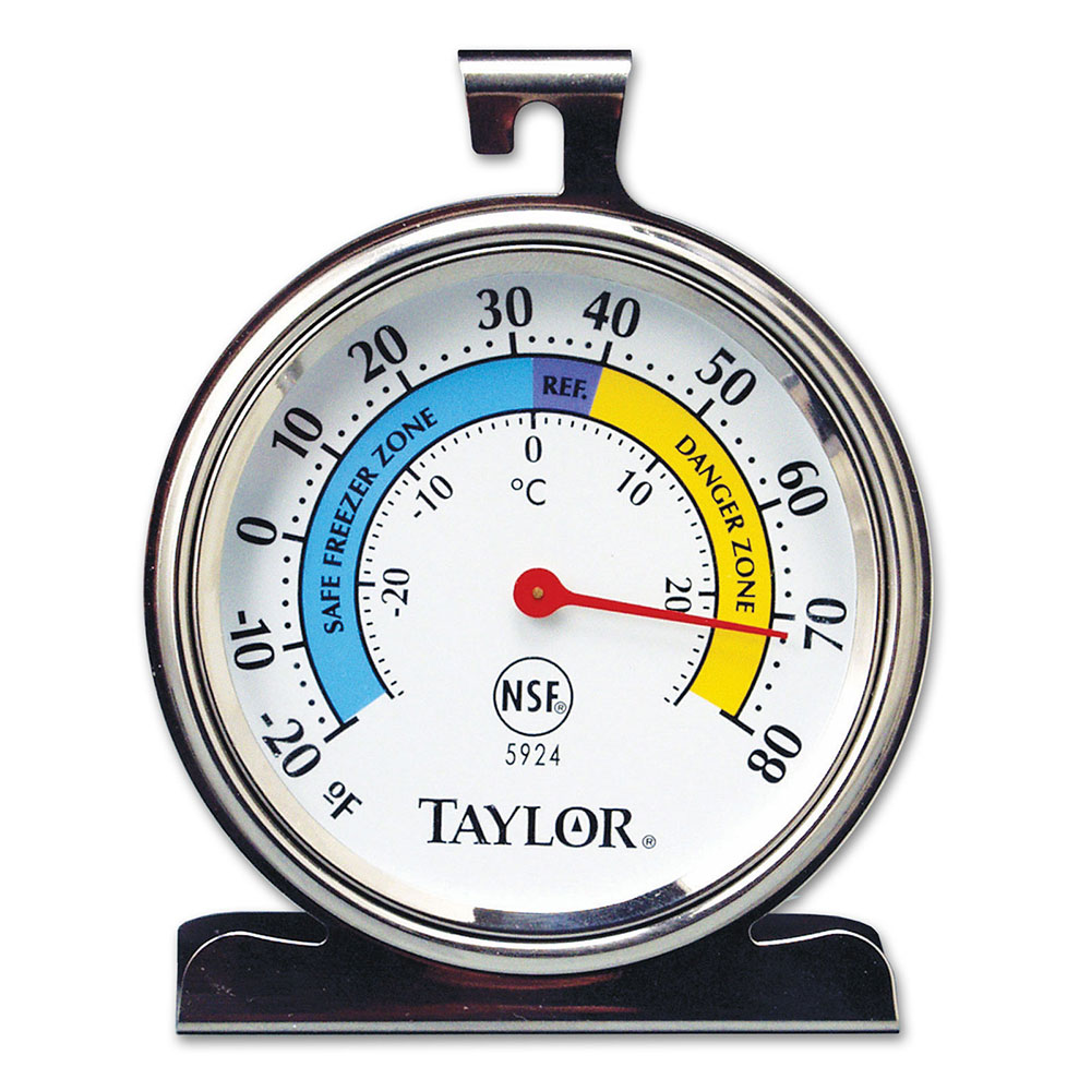 Taylor 5924 Refrigerator & Freezer Thermometer w/ 3.25-in Dial Fac