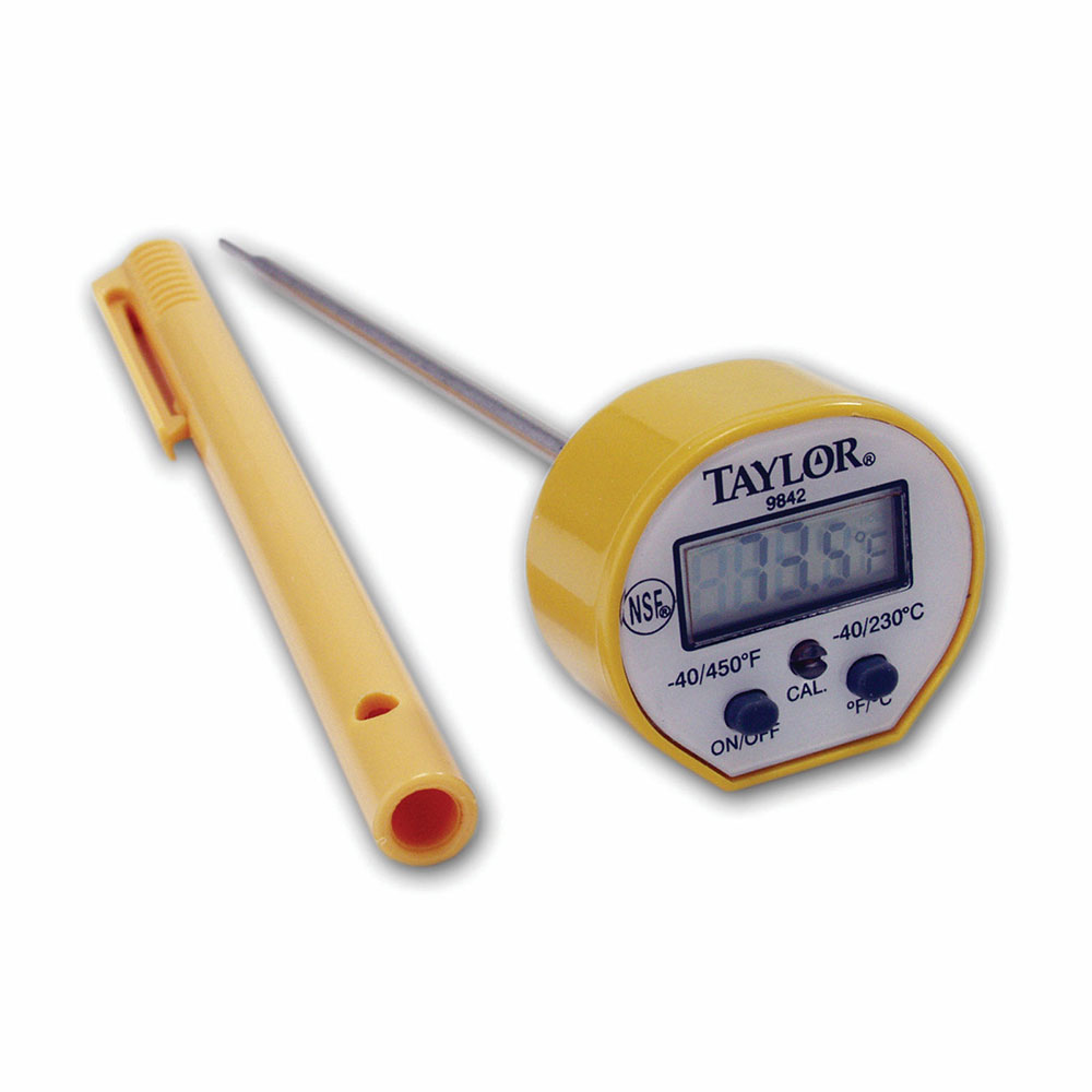 Taylor 9842FDA Pocket Thermometer w/ Waterproof Digital Display & Safe-T-Guard Case