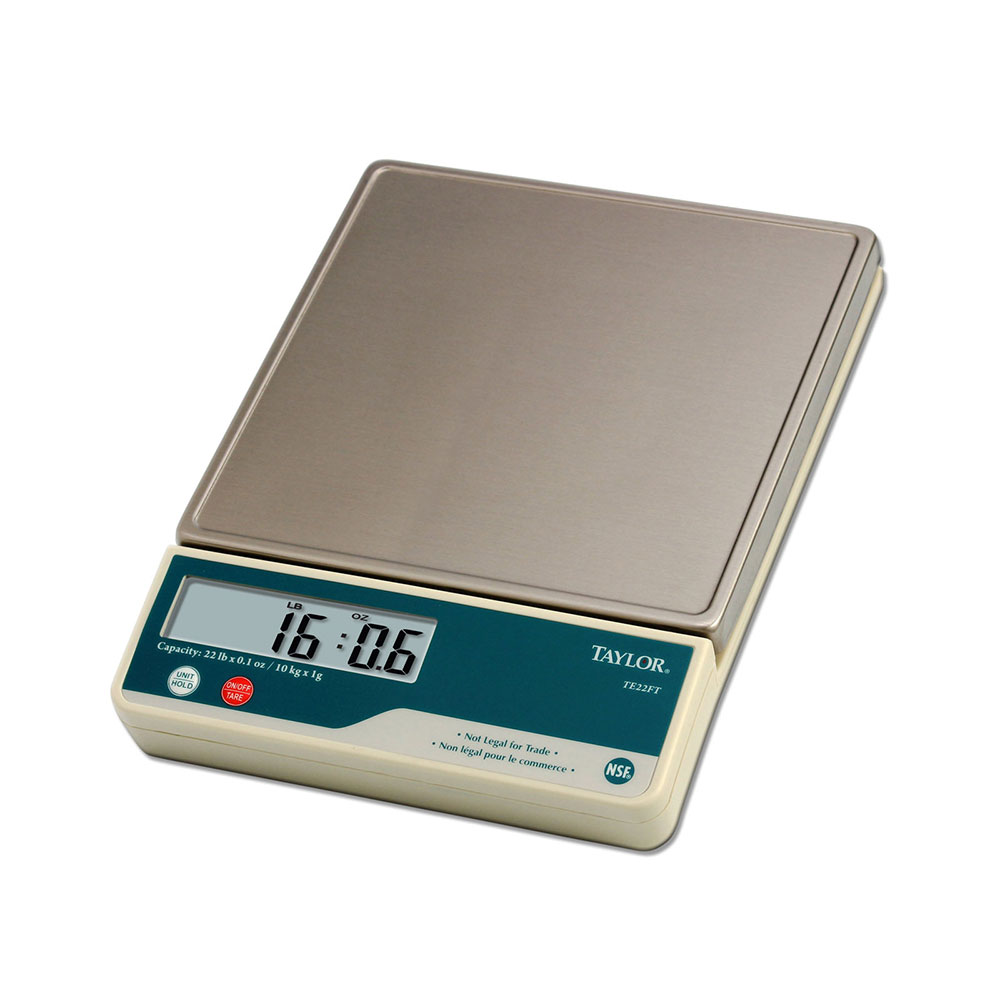 Taylor TE22 Digital 22 Lb. Portion Control Scale, SS Platform, Tare, Dual Powered
