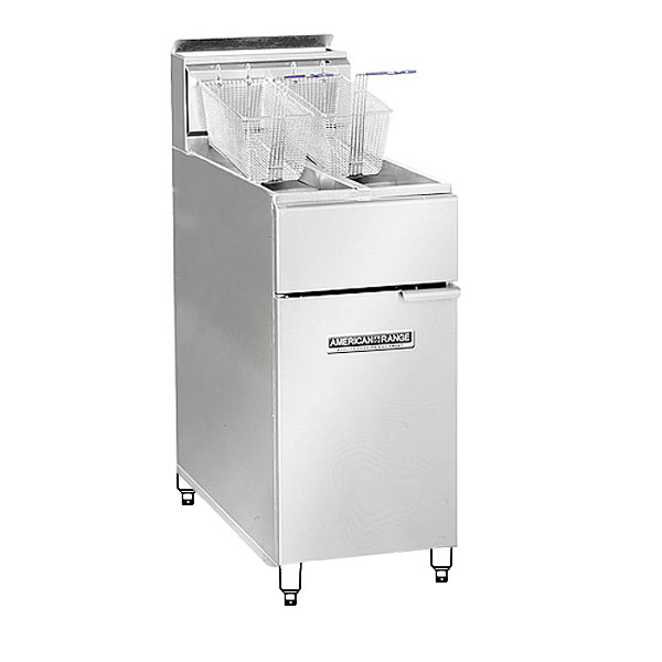 American Range AF2525LP Dual Fat Fryer, 20/30-lb Each w/ Thermostat & MilliVolt Pilot System, LP