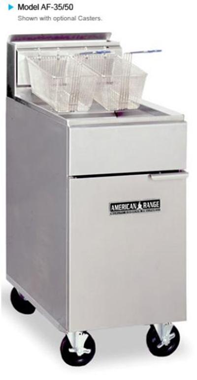 American Range AF45 NG Gas Fryer - (2) 50-lb Vat, Floor Model, NG
