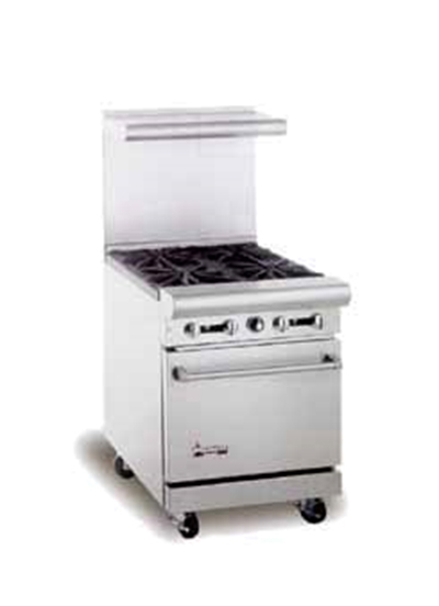 "American Range AR12FT-2B 24"" 2-Burner Gas Range with French Top, LP"