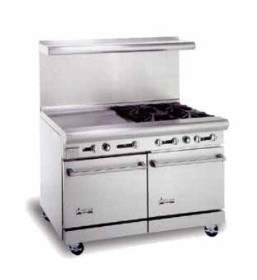 American Range AR24G4B NG 48 in Range, 24 in Griddle, Manual Control, 4 Burners, 2 Ovens, NG