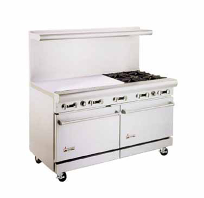 American Range AR36G4B LP 60 in Range, 36 in Griddle, Manual Control, 4 Burners, 2 Ovens, LP