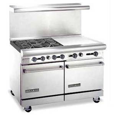 "American Range AR4B24RG 48"" 4-Burner Gas Range with Griddle & Broiler, LP"