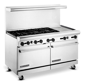 "American Range AR6B24RG 60"" 6-Burner Gas Range with Griddle & Broiler, NG"