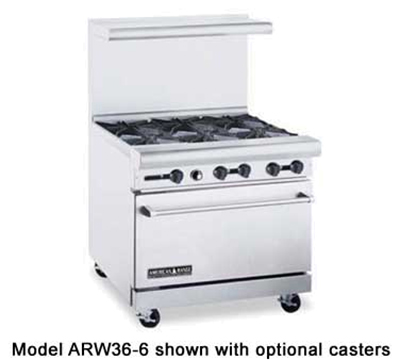 "American Range ARW36-12G-4B 36"" 4-Burner Gas Range with Griddle, LP"
