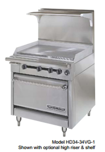 "American Range HD34-17TG-1HT-1C 34"" Gas Range with Griddle & Hot Top, NG"