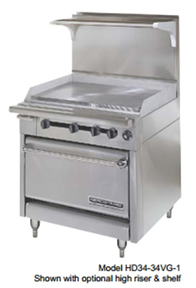 "American Range HD34-17VG-1HT-1 34"" Gas Range with Griddle & Hot Top, LP"