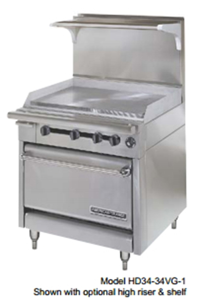 "American Range HD34-23VG-2-1 34"" 2-Burner Gas Range with Griddle, LP"