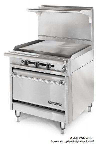 "American Range HD34-34PG-1C 34"" Gas Range with Griddle, LP"