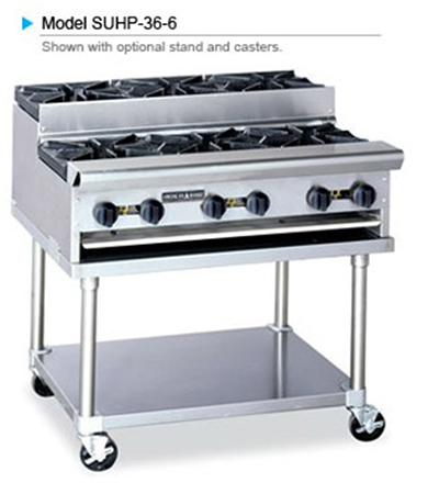 American Range SUHP24-4 LP 24-in Countertop Hotplate w/ 4-Burners, Manual, 128000-BTU, LP