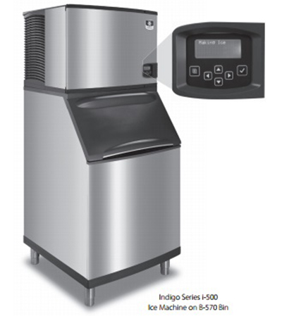 Manitowoc Ice ID-0503W/B-400 Cube Style Ice Maker - 550 lb/hr, 290 lb Ice Bin, Water Cool