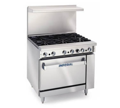 Imperial IR-6 NG 36-in Restaurant Range w/ 6-Burners & Oven, NG