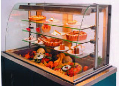 Piper Products 5-OTR-3 74-in Cold Food Display Case w/3 Glass Shelves, Modular, Recessed Base