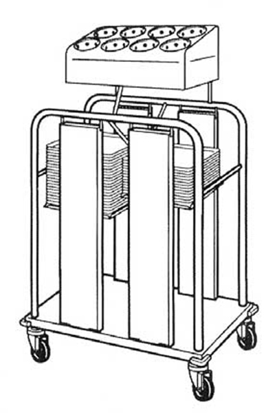 Piper Products PTS1418MO2 Open Mobile Double Stack Tray Sil