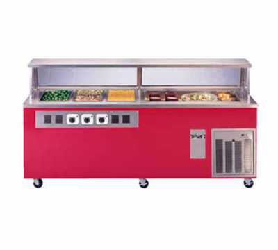 Piper Products R1H-2CM 3001240 50-in Refrigerated Hot Cold Serving Counter w/ 2-Cold Pan, 240/1V, Signal Red